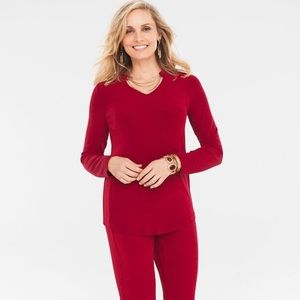 Chico's Travelers Long Sleeve Red Chain Detail S